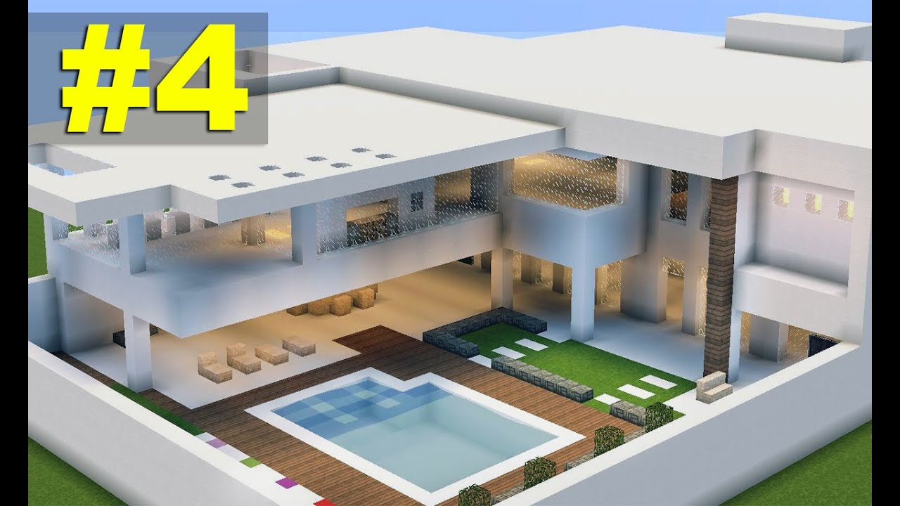 Minecraft tutorial casa moderna 7 parte 4 youtube for Casa moderna y grande en minecraft