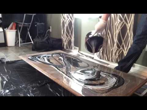 how to acrylic pour a coffee table top youtube. Black Bedroom Furniture Sets. Home Design Ideas