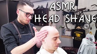 💈 Young Italian Barber - Head Shave with razor - short Head Massage - ASMR no talking