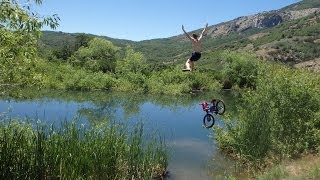 Alpine Sliding Rock Bike Jump!