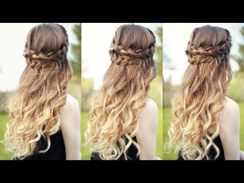 Beautiful Half Down Half Up Braided Hairstyle with curls| Half down hairstyles | Braidsandstyles12