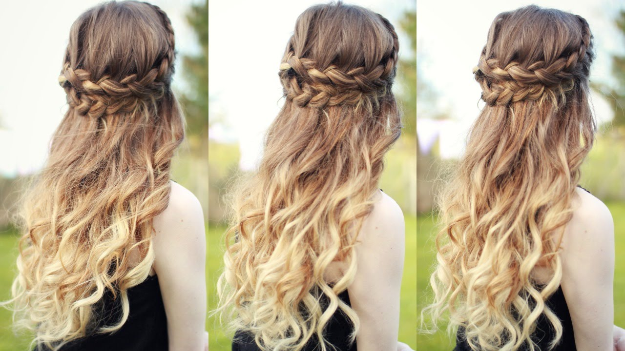 curly prom hairstyles half up half down with braids inexpensive