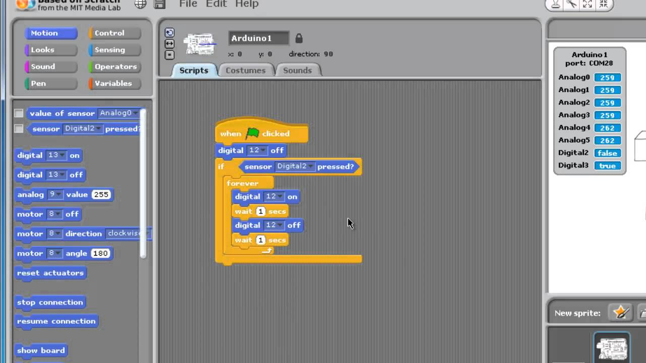 Scratch for arduino controlling led blink with simple