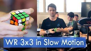 Super Slow Motion: Feliks Zemdegs April 2019 World Record Rubik's Cube Average - Solve 2