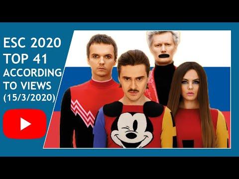 ESC 2020 - TOP 41 ACCORDING TO VIEWS (15/3/2020)