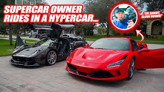 SCARING NEW FERRARI OWNER WITH THE PAGANI HUAYRA! *supercar owner's reaction to a hypercar*