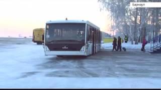 Водитель перроного автобуса барнаульского аэропорта смотрит «Катунь 24»