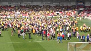 Burton Albion v Doncaster Rovers. Promotion pitch invasion.