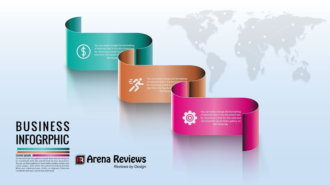 Modern Business Infographics Design Elements Colorful Ribbons ...