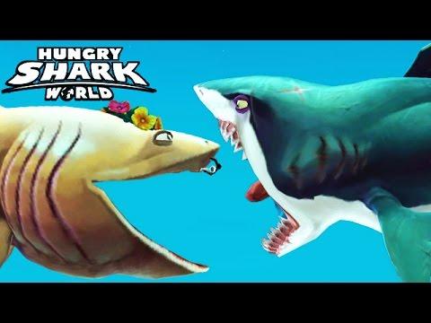 Great White Shark Enemies | Hungry Shark World Basking Shark Vs Enemy Great White Youtube