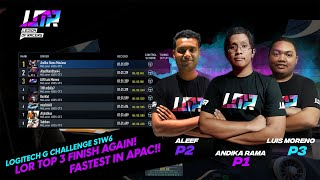 Team LOR esports racing takes the TOP 3 spot again in the Logitech Mclaren G Challenge S1W6 in APAC!