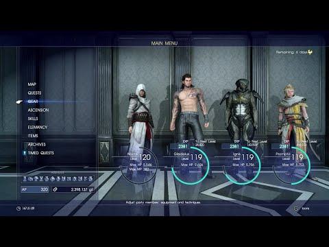 FINAL FANTASY XV - All Characters Outfits + DLC Costumes (Late 2017)
