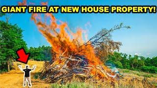 Burning MASSIVE Brush Piles at the NEW Dream House PROPERTY!!! (Bad Idea)
