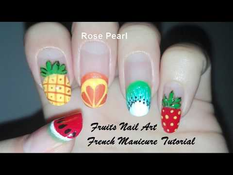 FRENCH MANICURE- Fruit Nail Art Tutorial- Summer Nails | Rose Pearl thumbnail