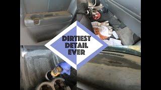 Detailing Dirtiest Car Interior Ever Ep. 8 Green Chevy Silverado