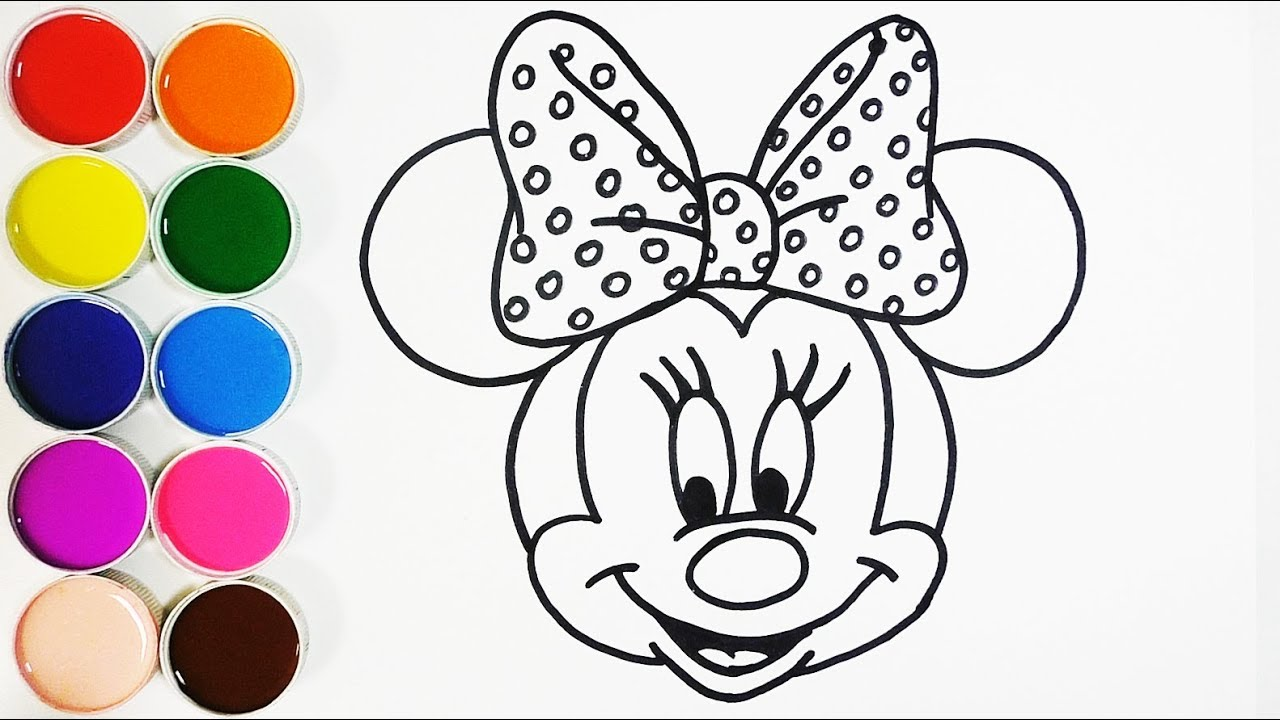 Dibujar y colorear a minnie mouse dibujos para ni os learns colors funkeep youtube - Minnie y mickey bebes para colorear ...
