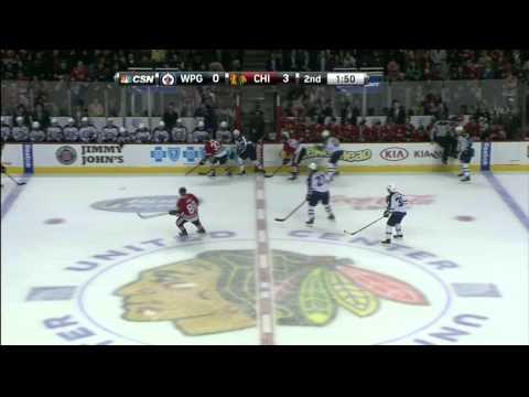 Brandon Pirri breakaway wrist shot goal 3-0 Winnipeg Jets vs Chicago Blackhawks 11/6/13 NHL Hockey.