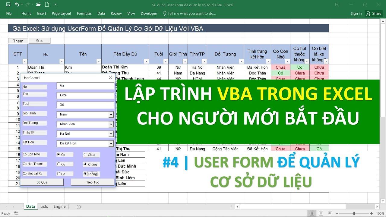 Lập trình VBA trong Excel cho người mới bắt đầu | #04 UserForm để quản lý cơ sở dữ liệu