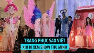 """Những trang phục """"gây choáng"""" của sao Việt khi đi xem show Thu Minh"""