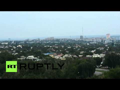 Ukraine: Black smoke covers Lugansk after mortar shelling