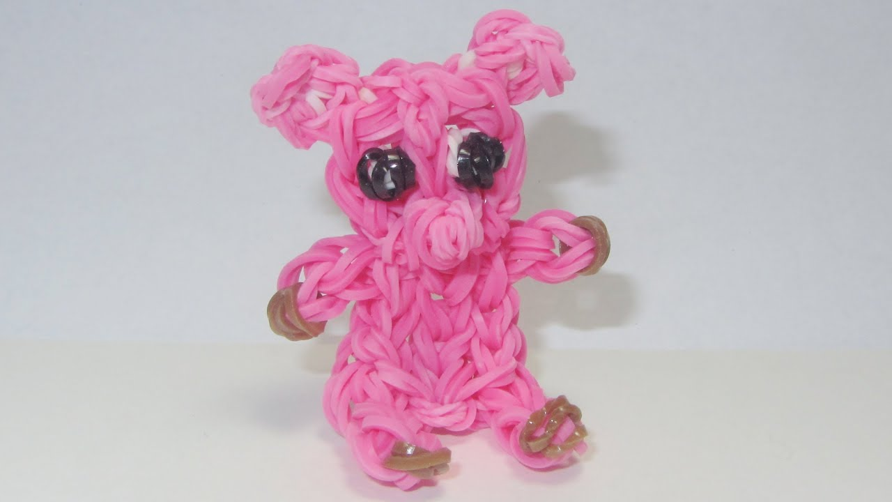 rainbow loom pig charm sits by itself how to design tutorial youtube. Black Bedroom Furniture Sets. Home Design Ideas