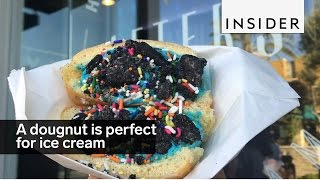 A doughnut is the perfect pocket for ice cream