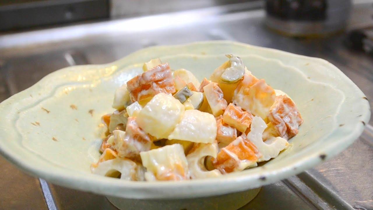 きゅうり料理のレシピ:古漬けと竹輪のわさびマヨネーズ和え How to make fish paste cake and pickles dressed with wasabi mayonnaise