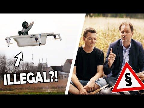 Ist unsere FLIEGENDE BADEWANNE ILLEGAL?!   RECHTSANWALT reagiert auf unsere menschliche Drohne