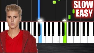 Justin Bieber - Love Yourself - SLOW EASY Piano Tutorial by PlutaX