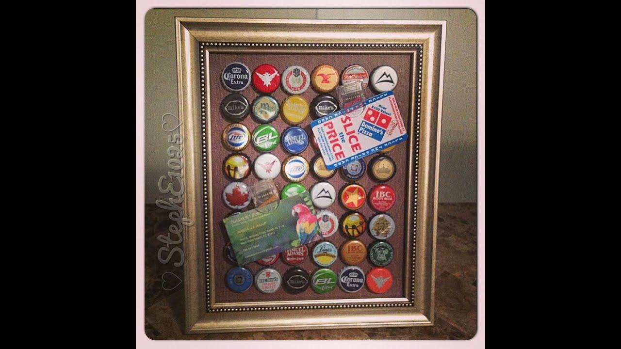 DIY Beer Cap Frame (Magnetic) - YouTube