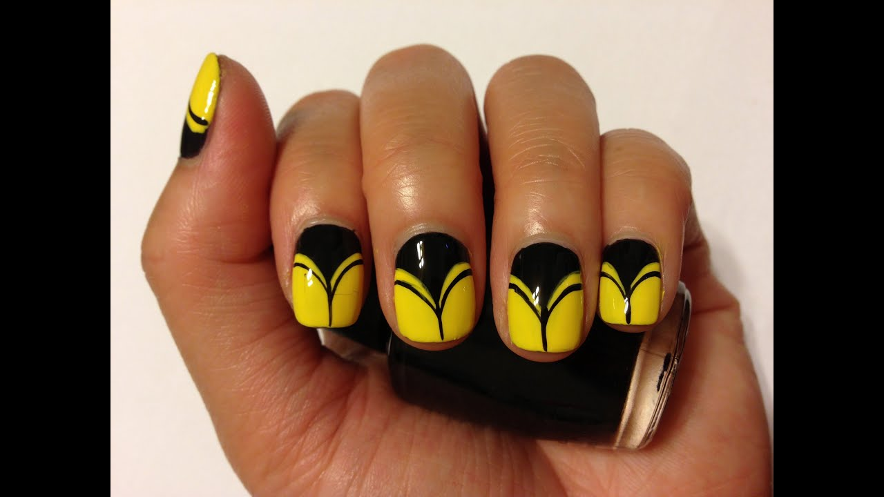 Diy Yellow Black Nail Art Youtube