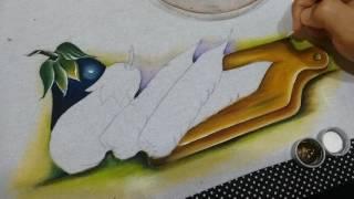 Pintura em tecido Tábua de frios e Berinjela