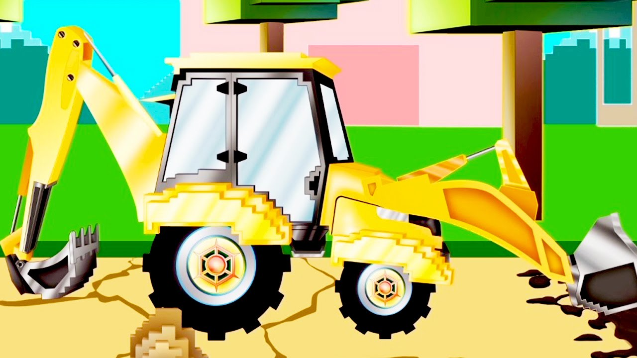 Koparka Pipo I Jego Laweta Kreskówka Jak Minecraft Dla Dzieci