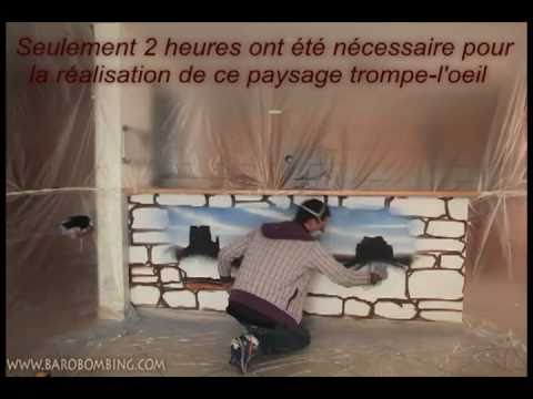 Creation mural d coration trompe l 39 oeil au spray youtube for Deco trompe l oeil mural