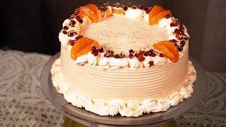 Eggless Nougat Cake  - Whipped Cream & Fruit Cake -  Easy Frosting At Home