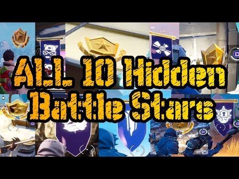ALL 10 HIDDEN BATTLE STARS LOCATIONS SEASON 7 - Fortnite Battle Royale Week 1 - 10