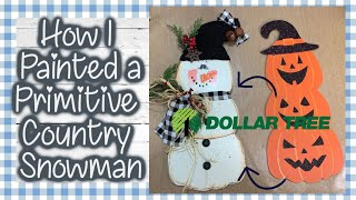 Dollar Tree Primitive Country Snowman || Turning a Halloween Sign into Snowman Decor