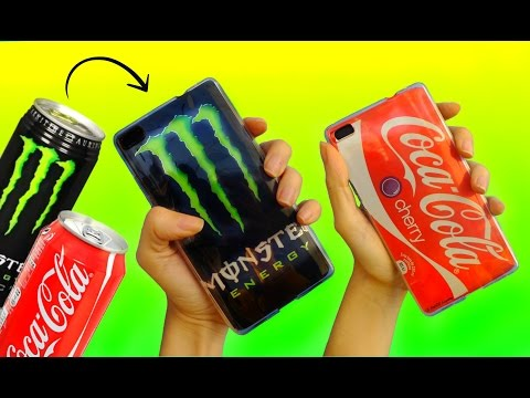 Thumbnail: DIY PHONE CASES with SODA CANS | Coca Cola & Monster Energy