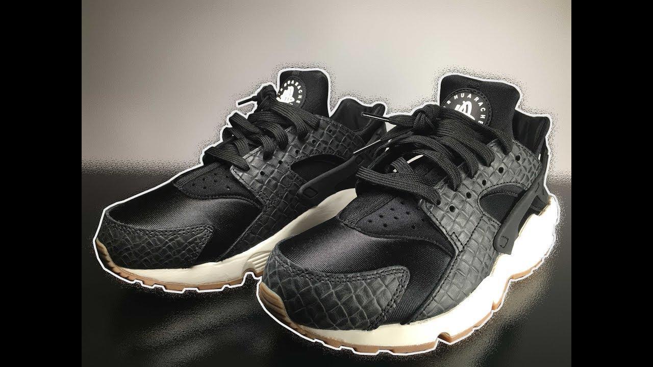 san francisco 13684 477d9 Nike W Air Huarache Run PRM   Black   Black - Sail - Gum   Med Brown