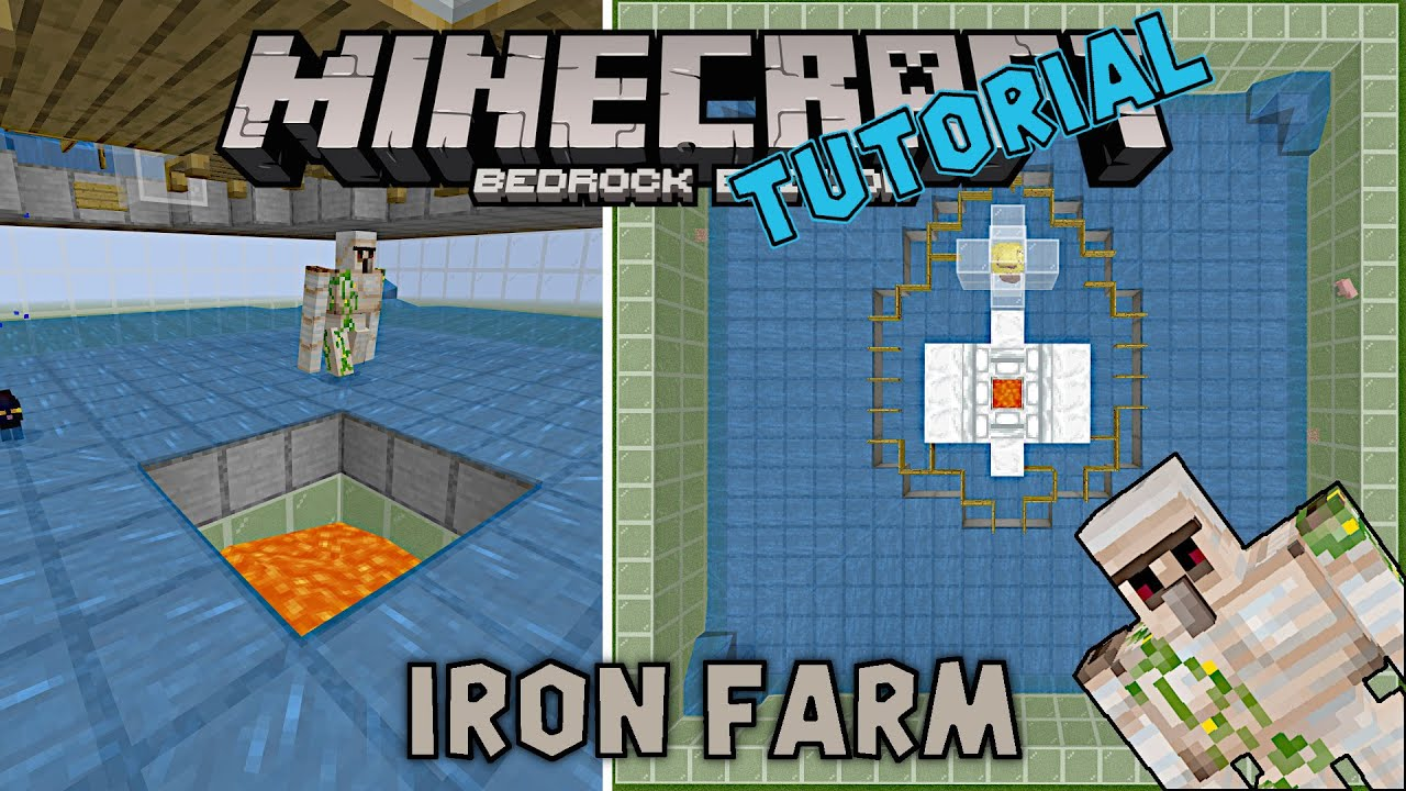 Outdated As Of 1 16 Iron Farm On Minecraft Bedrock Edition Simple To Build Design Youtube