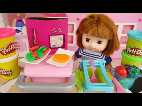 Play doh and baby Doll candy making play baby Doli house
