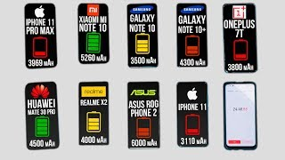 КТО ДОЛЬШЕ ПРОДЕРЖИТСЯ? iPhone 11 Pro Max, Xiaomi Mi Note 10, Samsung Note 10+, OnePlus 7T, Mate 30