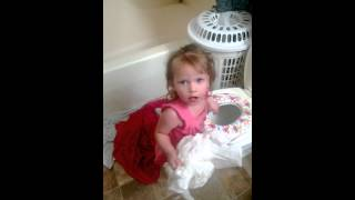 Funny one year getting ready for potty!
