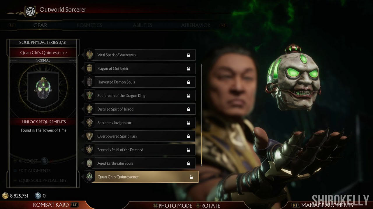 Mortal Kombat 11 Shang Tsung Character Customization All Outfits Gear Youtube