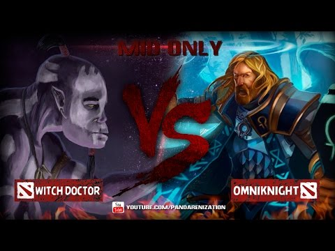 видео: witch doctor vs omniknight [Битва героев мидонли dota2]