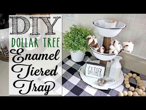 DIY Dollar Tree Enamel Tiered Tray