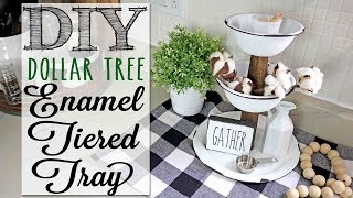 DIY Dollar Tree Enamel Tiered Tray