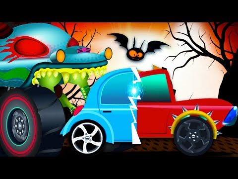 Scary Car Garage | Haunted House Monster Truck Videos - Kids Channel