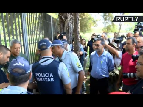 Guaido supporters protest in front of the Venezuelan embassy in Brasilia
